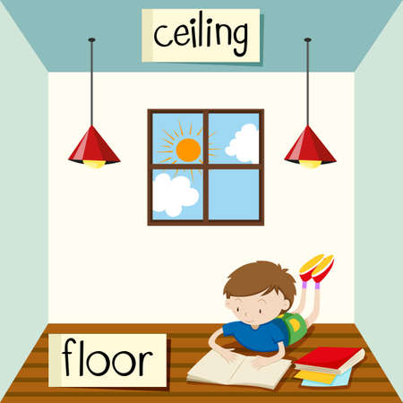 word: Opposite wordcard for ceiling and floor illustration Illustration