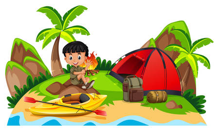 Little boy camping out on island illustration