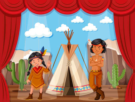 indian teenager: Native americans roleplay on stage illustration