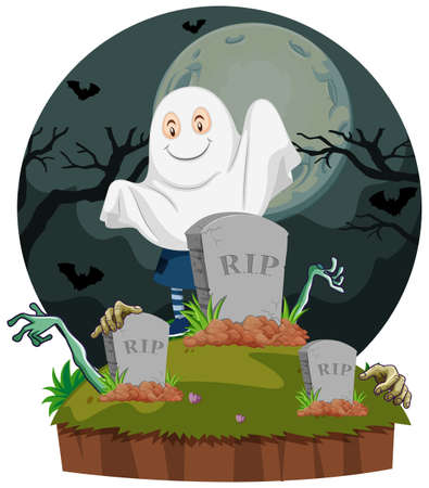 halloween background: Scene with ghost in graveyard illustration