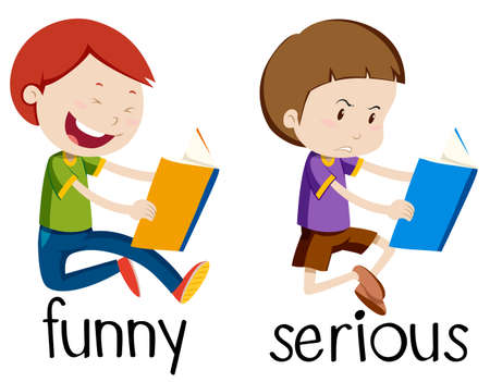 Opposite wordcard for funny and serious illustration