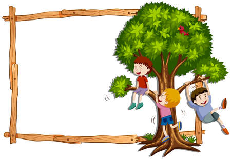 Frame template with kids climbing the tree illustration