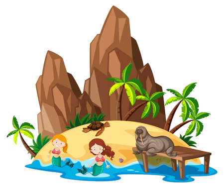 island: Scene with mermaid and sea animals illustration