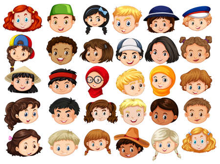 Different faces of happy children illustration Illustration