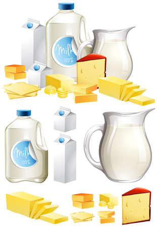 Different dairy products with milk and cheese illustration
