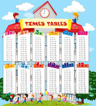 Times tables chart with kids at school background illustration Vectores