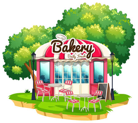 Bakery shop with dining tables illustration