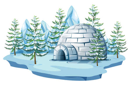 Igloo at the arctic land illustration