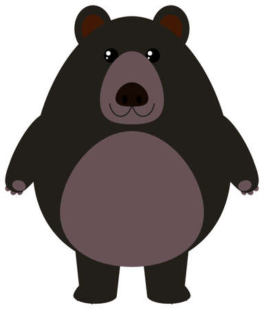 Black bear on white background illustration