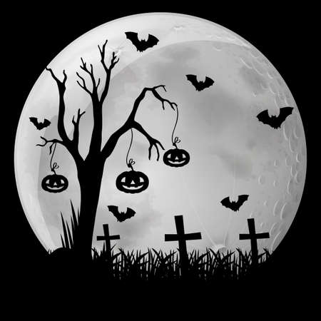 Silhouette background with bats in graveyard illustration Illustration