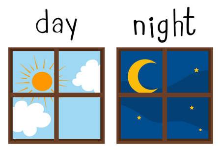 낮과 밤 그림에 반대하는 단어 카드