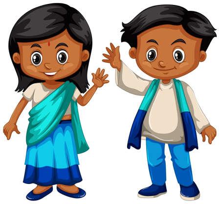 srilanka: Sri Lanka boy and girl in traditional costume illustration