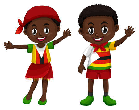 Zimbabwe boy and girl in flag color costume illustration