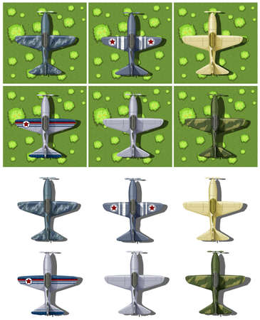 drawings image: Different designs of military airplanes illustration