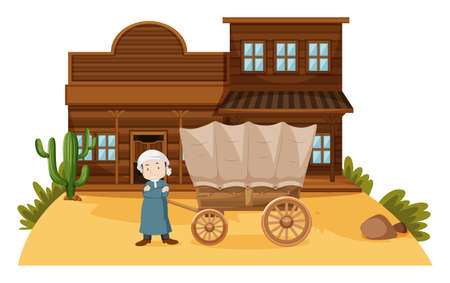 man: Arab man stands in western town illustration