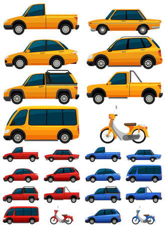 minivan: Different types of transportations in three colors illustration