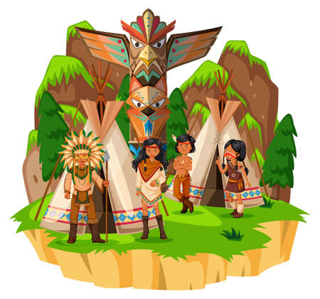 Native american indians at their tents illustration