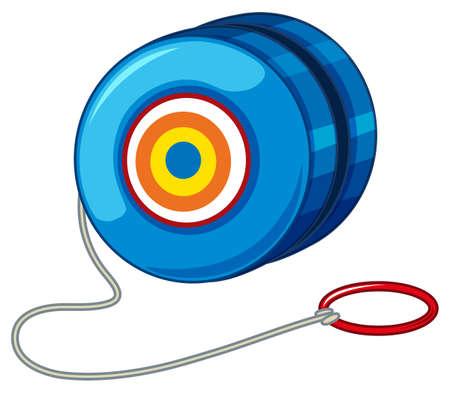 Blue yo-yo with red ring illustration