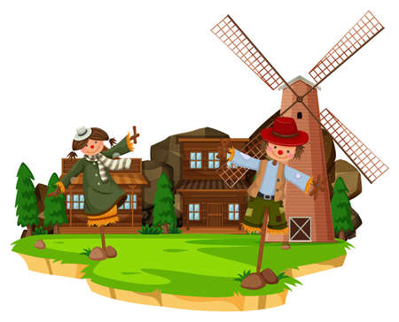 Western farm scene with scarecrows and windmill illustration Illustration