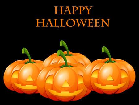 Happy Halloween card with jack o lanterns illustration