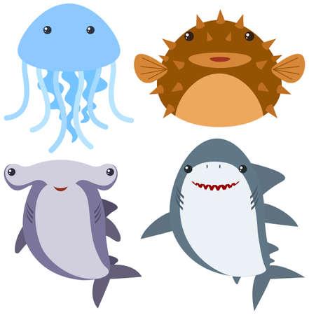 Sea animals on white background illustration