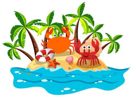 Crabs live on island illustration