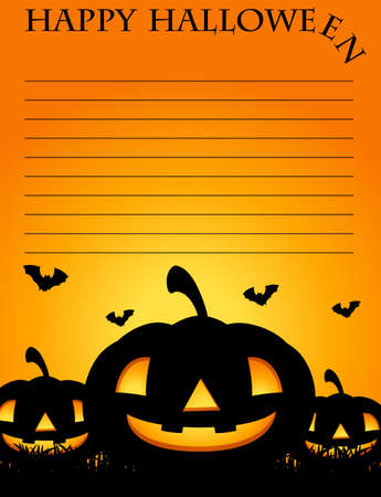 Paper template with jack-o-lantern in background illustration