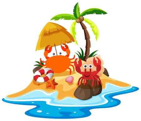 Ocean scene with crabs on the beach illustration