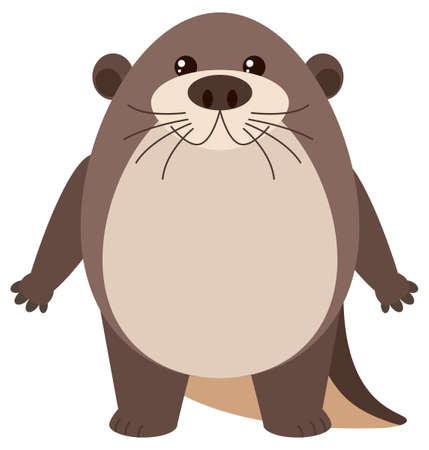 beaver: Cute otter on white background illustration Illustration