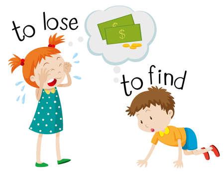 Opposite wordcard for lose and find illustration Illustration