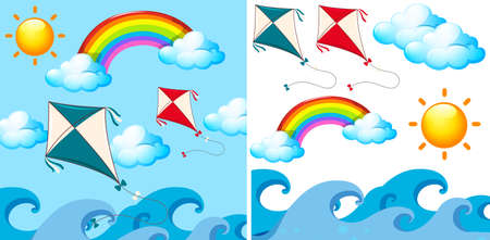 Background scene with kites in the sky illustration