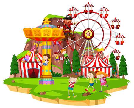 Many children playing rides at funpark illustration