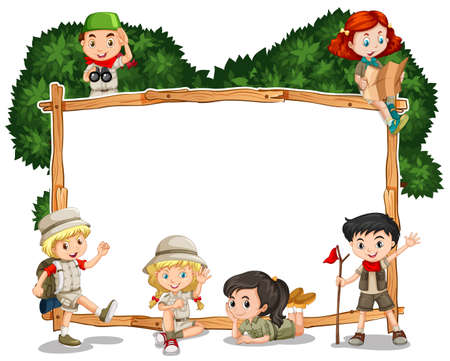 drawings image: Frame template with kids in safari outfit illustration