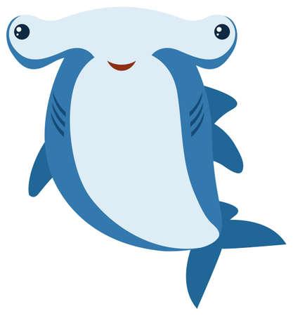 Hammerhead shark with big smile illustration