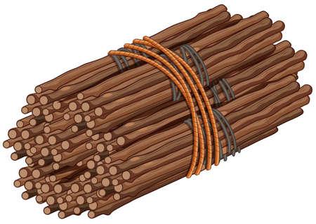 Wooden sticks in big bundle illustration.