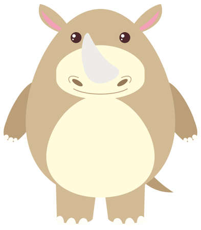 cute: Rhino with happy face illustration