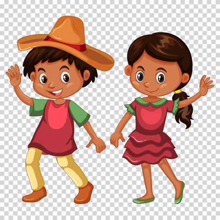 Mexican boy and girl in costume illustration Illustration