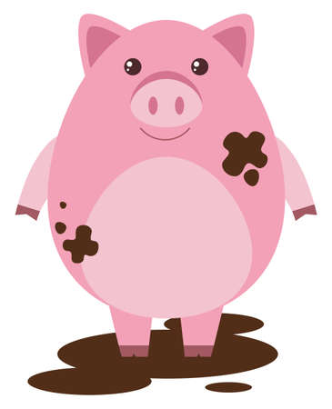 muddy: Pink pig in muddy puddle illustration Illustration