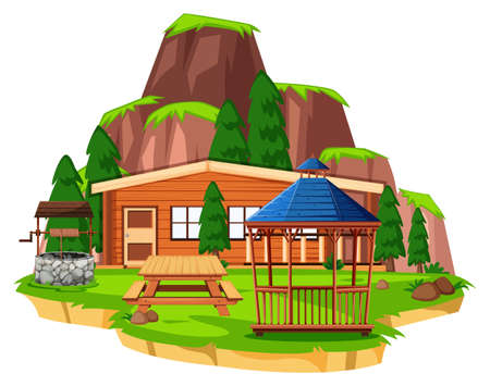 Scene with wooden house and field illustration Illustration