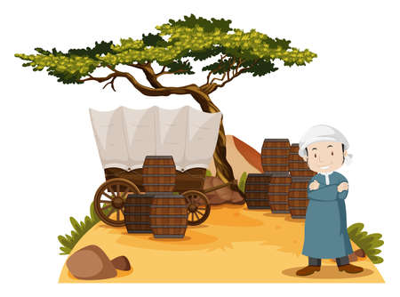 Arab man stands by the wagon illustration Illustration