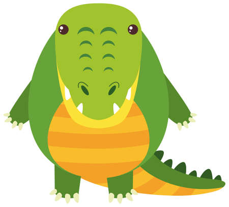 Cute crocodile on white background illustration