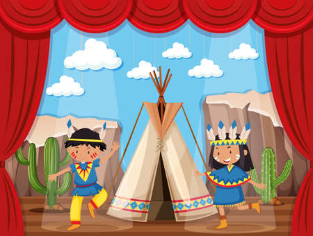 Boy and girl playing native indians on stage illustration