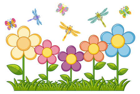 Butterflies and dragonflies in flower garden illustration Çizim