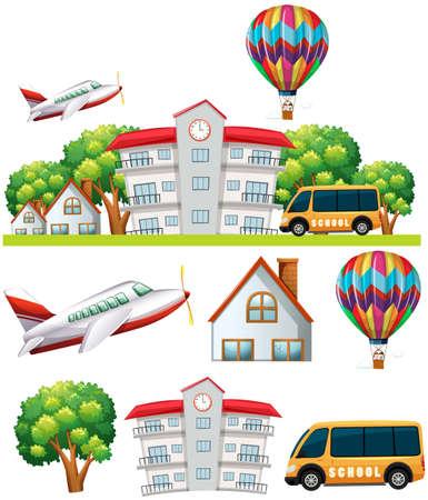 hospedaje: School scene with building and transportations illustration