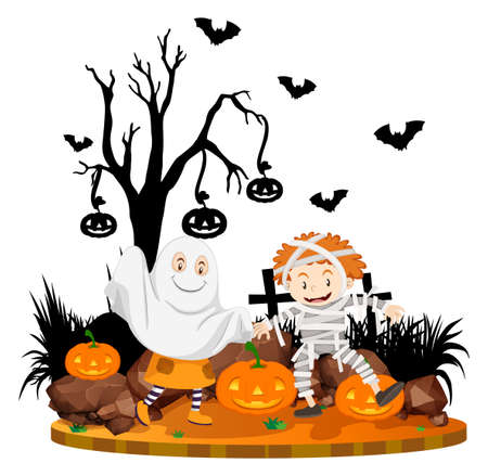 Halloween scene with kids in costume illustration Illustration