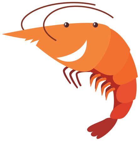 Shrimp with happy face illustration