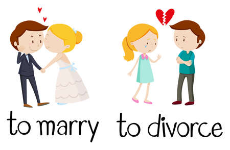 Opposite words for marry and divorce illustration. 일러스트
