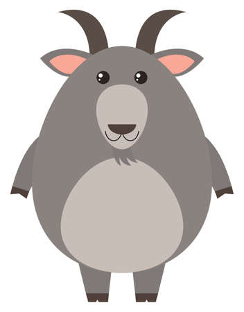 Gray goat with happy face illustration Illustration