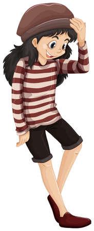 happy people: Little hipster girl illustration.