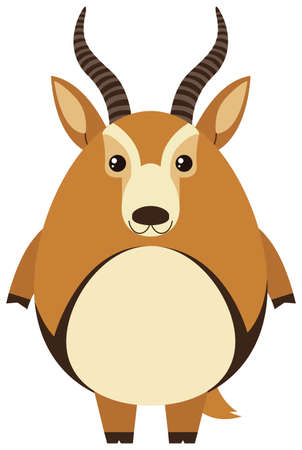 cute: Cute gazelle with round body illustration.